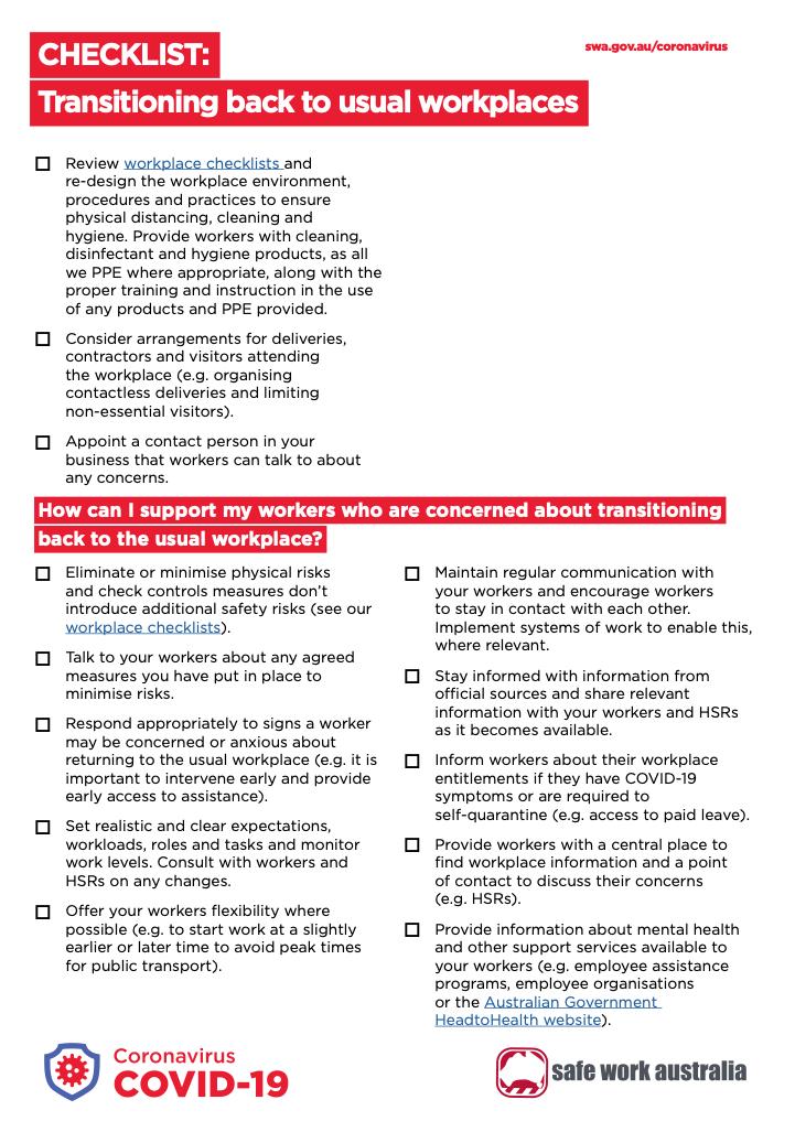 COVID-19 return to work checklist